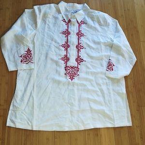 Tops - 2X Linen Blend Embroidered Shirt